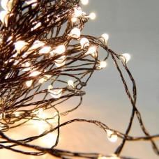 Χριστουγεννιάτικα 100 led θερμό λευκό φως mini slim λαμπάκια (φωτάκια) με μαύρο καλώδιο χαλκού σε σειρά σταθερά 1290cm στεγανά IP44