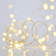 300 Χριστουγεννιάτικα led θερμό λευκό φως mini slim λαμπάκια (φωτάκια) με ασημί καλώδιο χαλκού σε σειρά σταθερά 3500cm στεγανά IP44