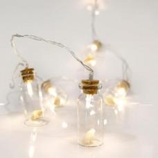 10 Χριστουγεννιάτικα θερμά led λαμπάκια (φωτάκια) με σχέδιο γυάλινα μπουκαλάκια μπαταρίας 3 x ΑΑ μη στεγανά IP20 και διάφανο καλώδιο 200cm