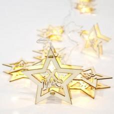 10 Χριστουγεννιάτικα θερμά led λαμπάκια (φωτάκια) με σχέδιο αστέρια (αστεράκια) μπαταρίας 3 x ΑΑ μη στεγανά IP20 και διάφανο καλώδιο 200cm