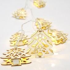 10 Χριστουγεννιάτικα θερμά led λαμπάκια (φωτάκια) με σχέδιο δέντρα (δεντράκια) μπαταρίας 3 x ΑΑ μη στεγανά IP20 και διάφανο καλώδιο 200cm