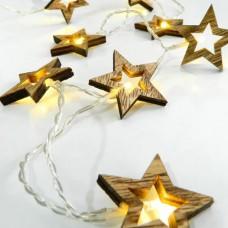 10 Χριστουγεννιάτικα θερμά led λαμπάκια (φωτάκια) με σχέδιο ξύλινα αστεράκια μπαταρίας 3 x ΑΑ μη στεγανά IP20 και διάφανο καλώδιο 185cm