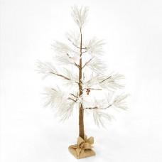 Χριστουγεννιάτικο δέντρο χιονισμένο με berry φωτιζόμενο 48 led λαμπάκια θερμό λευκό φως διαστάσεων 120cm x 40cm μη στεγανό IP20