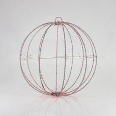 Χριστουγεννιάτικη led κρεμαστή διακοσμητική μεταλλική μπάλα κόκκινο φως Φ20cm φωτιζόμενη με 96 led στεγανή αδιάβροχη IP44 εξωτερικού χώρου