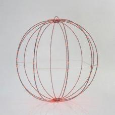Χριστουγεννιάτικη κρεμαστή διακοσμητική μεταλλική μπάλα κόκκινο φως Φ40cm 6W φωτιζόμενη με 240 led στεγανή αδιάβροχη IP44