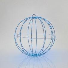Χριστουγεννιάτικη led κρεμαστή διακοσμητική μεταλλική μπάλα μπλε φως Φ20cm φωτιζόμενη με 96 led στεγανή αδιάβροχη IP44 εξωτερικού χώρου
