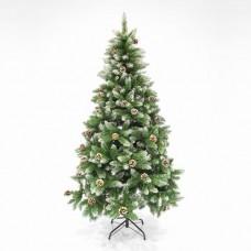 Χριστουγεννιάτικο δέντρο με ύψος 210cm (2,10 μέτρα) και κουκουνάρια τύπου έλατο Αλάσκα pvc διάμετρος 105cm μεταλλική βάση 1200 κλαδιά