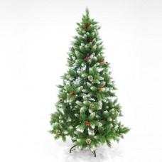 Χριστουγεννιάτικο δέντρο 240cm (2,40 μέτρα) χιονισμένο με κουκουνάρια και berry τύπου έλατο pvc διάμετρος 142cm μεταλλική βάση 1623 κλαδιά