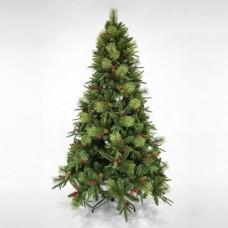 Χριστουγεννιάτικο δέντρο 240cm (2,40 μέτρα) πολυτελείας πλαστικό με pvc berry και κουκουνάρια διάμετρος 135cm μεταλλική βάση 1642 κλαδιά