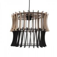 Κρεμαστό φωτιστικό μονόφωτο οβάλ Φ33cm ξύλινο χρώματος καφέ με μαύρο καλώδιο και ντουί 1 x E27 για λάμπες led Edison