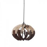 Φωτιστικό μονόφωτο κρεμαστό σχήμα μπάλας Φ38cm ξύλινο χρώματος καφέ με μαύρο καλώδιο και ντουί 1 x E27 για λάμπες led Edison