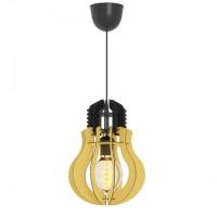 Φωτιστικό μονόφωτο κρεμαστό σχήμα λάμπας (γλόμπος) Φ20cm ξύλινο χρώματος κίτρινο με μαύρο καλώδιο και ντουί 1 x E27 για λάμπες led Edison