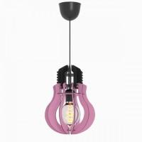 Μονόφωτο φωτιστικό κρεμαστό σχήμα λάμπας (γλόμπος) Φ20cm ξύλινο χρώματος ροζ με μαύρο καλώδιο και ντουί 1 x E27 για λάμπες led Edison
