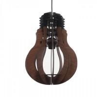 Φωτιστικό μονόφωτο κρεμαστό σχήμα λάμπας (γλόμπος) Φ20cm ξύλινο χρώματος καφέ με μαύρο καλώδιο και ντουί 1 x E27 για λάμπες led Edison