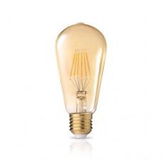 Λάμπα led filament edison αβοκάντο 8W ντιμαριζόμενη (dimmable) χρυσό (μελί) γυαλί Ε27 2200K θερμό λευκό φως ST64 ευρείας δέσμης 360° 630lumen 230V