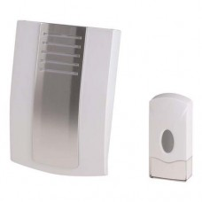 Ασύρματο κουδούνι μπαταρίας 3 x AA χρώματος λευκό ασημί με στάθμη έντασης ήχου 85dB και απόσταση λειτουργίας έως 80 μέτρα