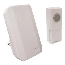 Ασύρματο κουδούνι πρίζας χρώματος λευκό με στάθμη έντασης ήχου 85dB και απόσταση λειτουργίας έως 100 μέτρα