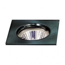 Σποτ (spot) φωτιστικό χωνευτό γυψοσανίδας τετράγωνο σταθερό χρώματος μαύρο αλουμινίου Φ7,8cm (εγκοπής 6cm) με ντουί MR16 για λάμπες led