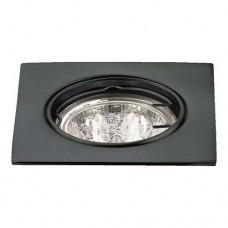 Σποτ (spot) φωτιστικό χωνευτό γυψοσανίδας τετράγωνο κινητό χρώματος μαύρο αλουμινίου Φ8,1cm (εγκοπής 7,5cm) με ντουί MR16 για λάμπες led