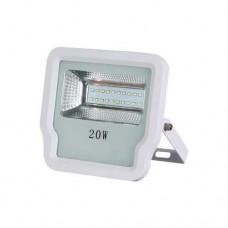 Προβολέας led 20W smd θερμό λευκό φώς 3000Κ τάση από 85V έως 265V αλουμινίου χρώματος λευκό 16,6cm x 16cm στεγανός αδιάβροχος IP65 1900lumens