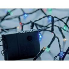 Χριστουγεννιάτικα 50 led λαμπάκια (φωτάκια) πολύχρωμα (χρωματιστά) σε σειρά με πρόγραμμα και πράσινο καλώδιο 395cm μη στεγανά IP20