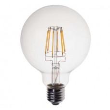 Λάμπα led filament 4W (4 watt) edison γλόμπος globe Ε27 μεγάλη Φ125 6000K ψυχρό λευκό φως G125 ευρείας δέσμης 360° 500 lumen 230V