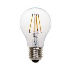 Λάμπα led filament edison κοινή αχλάδι 4W διάφανο γυαλί Ε27 ψυχρό λευκό φως 6500K A60 ευρείας δέσμης 360° 480lumen 230V
