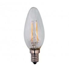 Λάμπα led filament edison κερί (κεράκι) 3W διάφανο γυαλί Ε14 ψυχρό λευκό φως 6500K C37 ευρείας δέσμης 360° 360lumen 230V