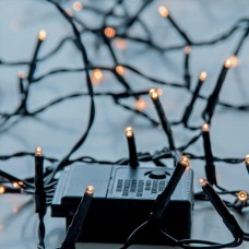 Χριστουγεννιάτικα led λαμπάκια 400 τεμαχίων θερμό λευκό σε σειρά με πρόγραμμα και πράσινο καλώδιο 2295cm στεγανά IP44