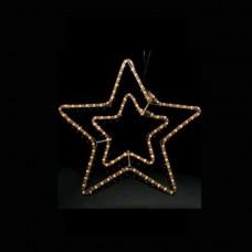 Χριστουγεννιάτικο αστέρι διπλό λευκό φώς με πρόγραμμα και 3 μέτρα φωτοσωλήνα 55 x 56cm στεγανό IP44