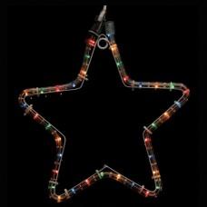 Χριστουγεννιάτικο αστέρι πολύχρωμο (χρωματιστό) με 1 μέτρο φωτοσωλήνα 32 x 29cm στεγανό IP44