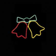 Χριστουγεννιάτικη καμπάνα διπλή κόκκινη κίτρινη με πρόγραμμα και 3 μέτρα φωτοσωλήνα 47 x 64cm στεγανή IP44