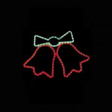 Χριστουγεννιάτικη καμπάνα διπλή κόκκινη κόκκινη με πρόγραμμα και 3 μέτρα φωτοσωλήνα 47 x 64cm στεγανή IP44