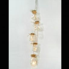 Χριστουγεννιάτικος διακοσμητικός φωτισμός led σε σχοινί μήκος 70cm με 5 βαζάκια και 15 led θερμά λευκά μπαταρίας 3xAA