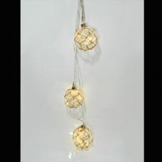 Χριστουγεννιάτικος διακοσμητικός φωτισμός led με 3 μπάλες Φ10cm σε σχοινί με μήκος 230cm και 10 led θερμά λευκά μπαταρίας 3xAA