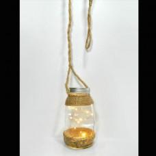 Χριστουγεννιάτικος διακοσμητικός φωτισμός led με 1 βαζάκι 17cm σε σχοινί μήκος 215cm και 10 led θερμά λευκά μπαταρίας 3xAA