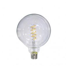 Λάμπα led filament edison γλόμπος globe 6W Ε27 μικρή Φ95 με σπιραλ (spiral) σχέδιο 13cm 2700K θερμό λευκό φως G95 ευρείας δέσμης 360° 540lumen 230V