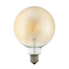 Λάμπα led filament edison Φ95 γλόμπος (globe) 4W ντιμαριζόμενη (dimmable) χρυσό (μελί) γυαλί Ε27 2400K θερμό λευκό φως G95 ευρείας δέσμης 360° 360lumen 230V