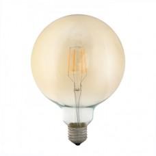Λάμπα led filament edison Φ125 γλόμπος (globe) 4W ντιμαριζόμενη (dimmable) χρυσό (μελί) γυαλί Ε27 2400K θερμό λευκό φως G125 ευρείας δέσμης 360° 360lumen 230V