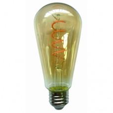 Λάμπα led filament edison με σπιραλ (spiral) σχέδιο E27 αβοκάντο ST64 6W ντιμαριζόμενη (dimmable) χρυσό (μελί) γυαλί 2400K θερμό λευκό φως ευρείας δέσμης 360° 540lumen 230V