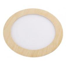 Φωτιστικό led panel 20W (20 WATT) ενδιάμεσο λευκό φως 4000Κ απόχρωση ξύλου στρογγυλό χωνευτό αλουμινίου Φ22cm 1700lumen 120°