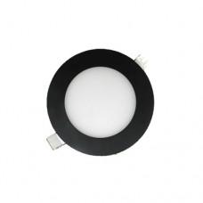 Φωτιστικό led panel 3W (WATT) σπότ ενδιάμεσο λευκό φως 4000Κ μαύρο στεφάνι στρογγυλό χωνευτό αλουμινίου φ8,5cm 260lumen 120°