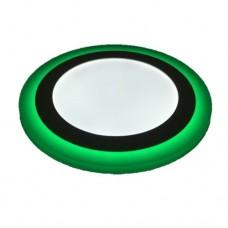 Φωτιστικό led panel 18w - 6w (24w - 24watt) ψυχρό λευκό - πράσινο φως με 3 επιλογές φωτισμού 24,5cm χωνευτό ψευδοροφής στρογγυλό στεφάνι 1900lumen