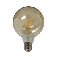 Λάμπα led edison filament e27 8w (απόδοση 80w) γλόμπος globe φ95 ντιμαριζόμενη (dimmable) χρυσό γυαλί 2400κ θερμό λευκό φως 1055lumen