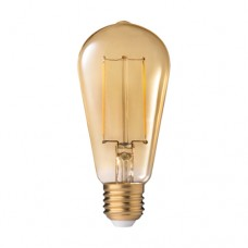 Λάμπα led filament edison αβοκάντο 8W ντιμαριζόμενη (dimmable) χρυσό (μελί) γυαλί Ε27 2200K θερμό λευκό φως ST58 ευρείας δέσμης 360° 630lumen 230V