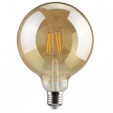 Λάμπα led filament edison Φ125 γλόμπος (globe) 8W ντιμαριζόμενη (dimmable) χρυσό (μελί) γυαλί Ε27 2200K θερμό λευκό φως G125 ευρείας δέσμης 360° 630lumen 230V
