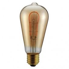 Λάμπα led filament edison αβοκάντο 3W ντιμαριζόμενη (dimmable) χρυσό γυαλί και σχέδιο Ε27 2000K θερμό λευκό φως ST64 ευρείας δέσμης 330° 180lumen 230V
