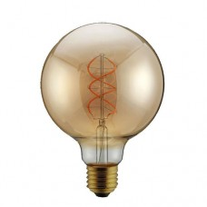 Λάμπα led filament edison γλόμπος φ95cm 5W ντιμαριζόμενη (dimmable) χρυσό γυαλί και σχέδιο Ε27 2000K θερμό λευκό φως ευρείας δέσμης 330° 300lumen 230V