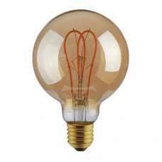 Λάμπα led filament edison γλόμπος Φ125cm 5W ντιμαριζόμενη (dimmable) χρυσό γυαλί και σχέδιο Ε27 2000K θερμό λευκό φως ευρείας δέσμης 330° 300lumen 230V