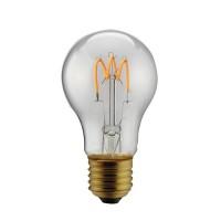 Λάμπα led filament edison κοινή (αχλάδι) 3W ντιμαριζόμενη (dimmable) διάφανο γυαλί και σχέδιο Ε27 2200K θερμό λευκό φως Α60 ευρείας δέσμης 330° 180lumen 230V